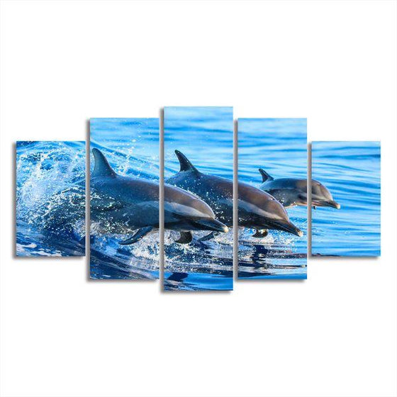 Jumping Dolphins 5 Panels Canvas Wall Art