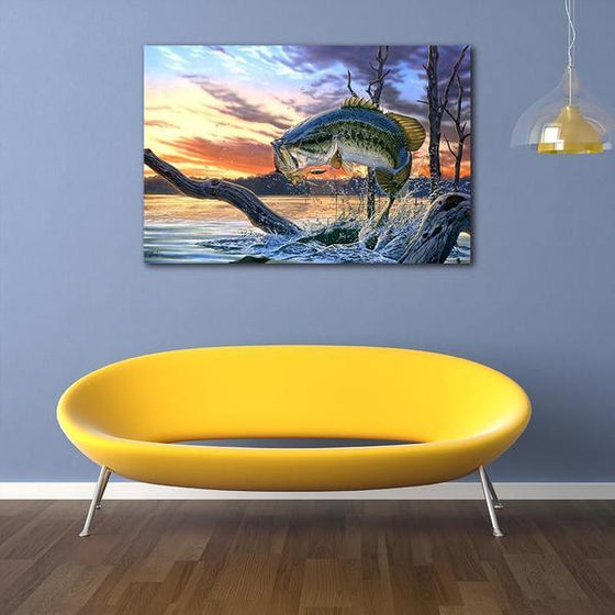Jumping Fish Canvas Wall Art Print