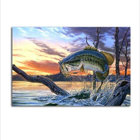 Jumping Fish Canvas Wall Art