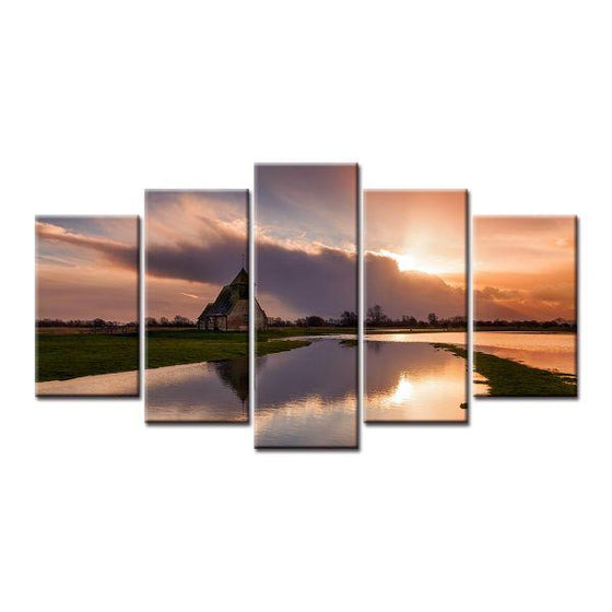 Lake And Sunset Clouds Canvas Wall Art