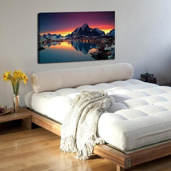 Lakeside Village Night View Wall Art Bedroom