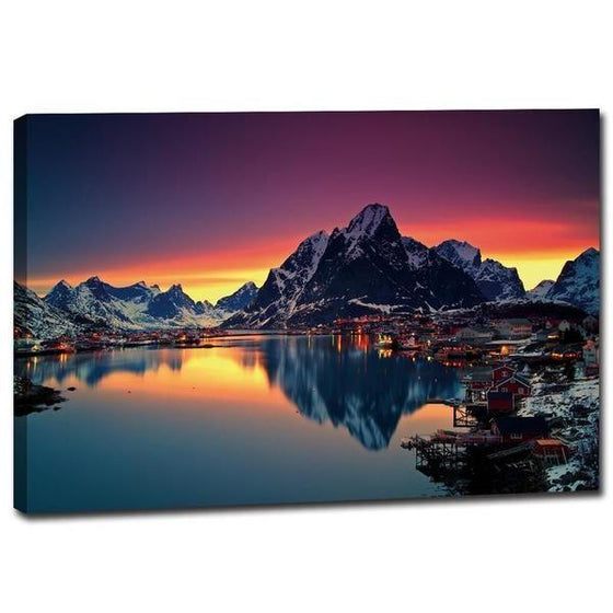 Lakeside Village Night View Wall Art Canvas