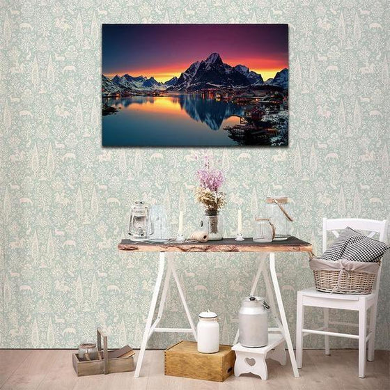 Lakeside Village Night View Wall Art Decors