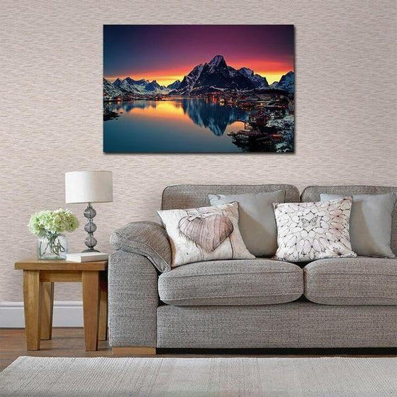Lakeside Village Night View Wall Art Ideas
