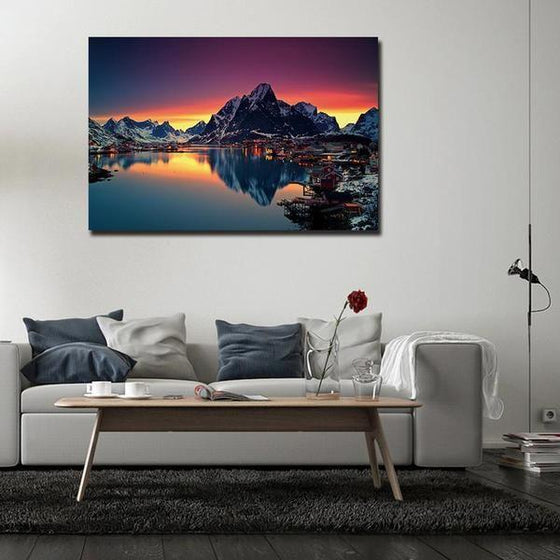 Lakeside Village Night View Wall Art Living Room