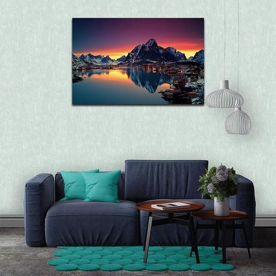 Lakeside Village Night View Wall Art Print