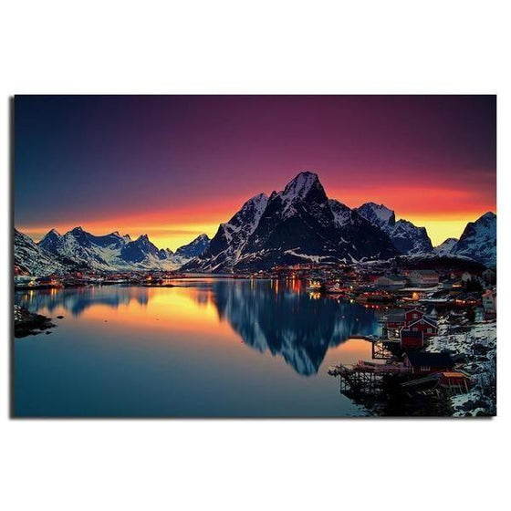 Lakeside Village Night View Wall Art