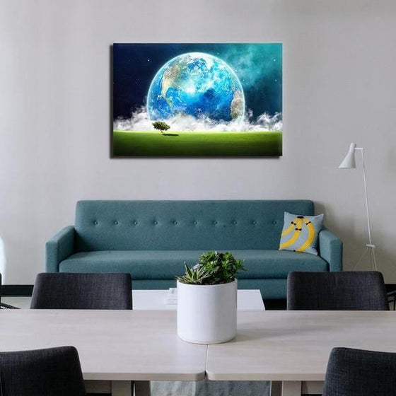 Landscape Overlooking Earth Wall Art Canvas