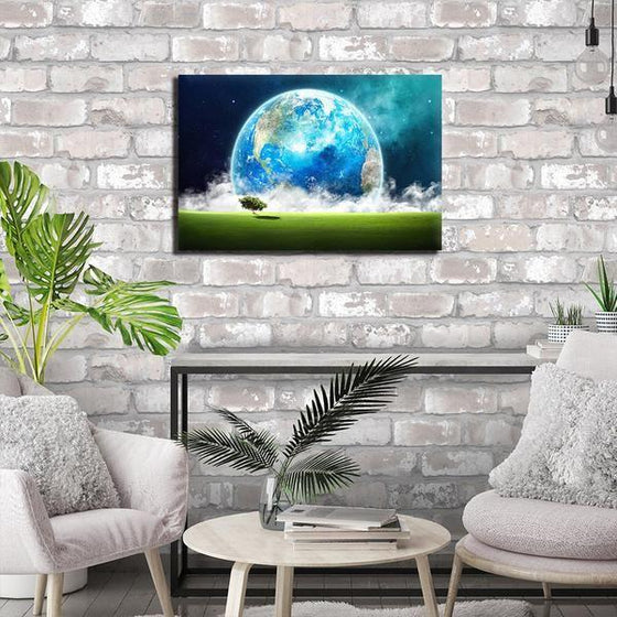 Landscape Overlooking Earth Wall Art Print