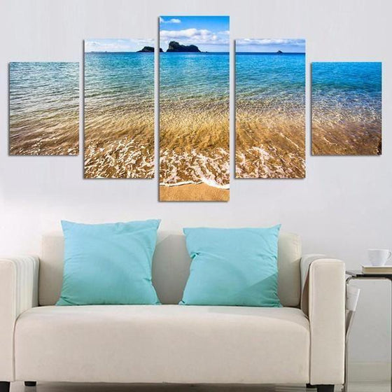 Slow Scenic Beach Waves Canvas Art Print