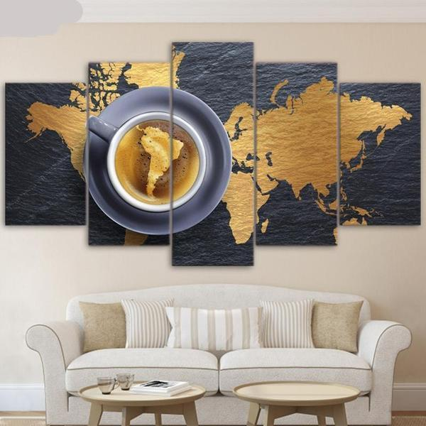 Coffee World Map Canvas Wall Art