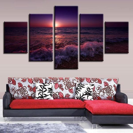Beach Violet Sunset Canvas Wall Art Prints