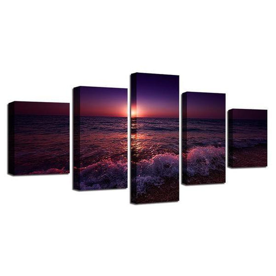 Beach Violet Sunset Canvas Wall Art Ideas