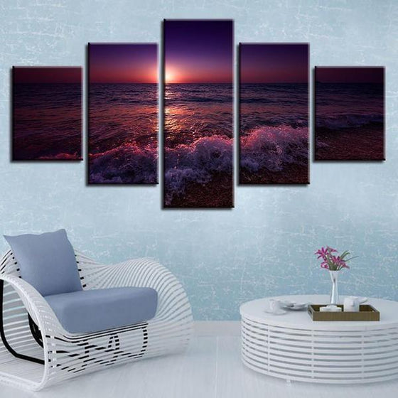 Beach Violet Sunset Canvas Wall Art Decor