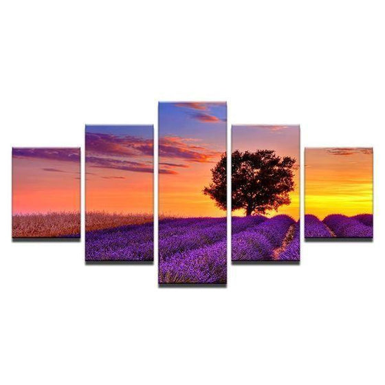 Lavender Garden Sunset Canvas Wall Art