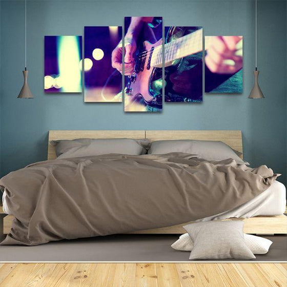 Lead Electric Guitar 5 Panels Canvas Wall Art Bedroom