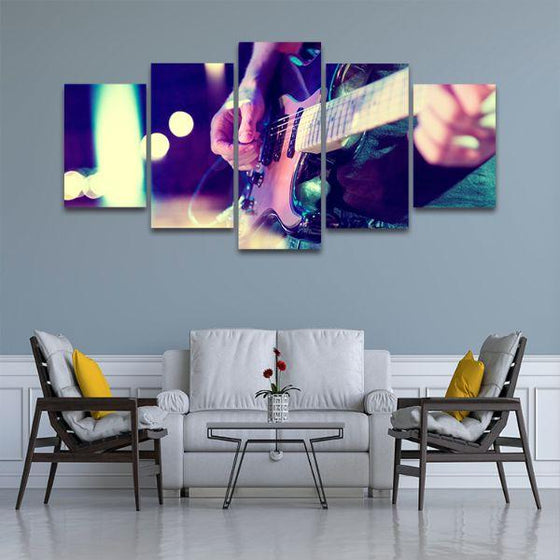 Lead Electric Guitar 5 Panels Canvas Wall Art Living Room