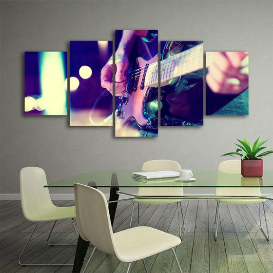 Lead Electric Guitar 5 Panels Canvas Wall Art Office