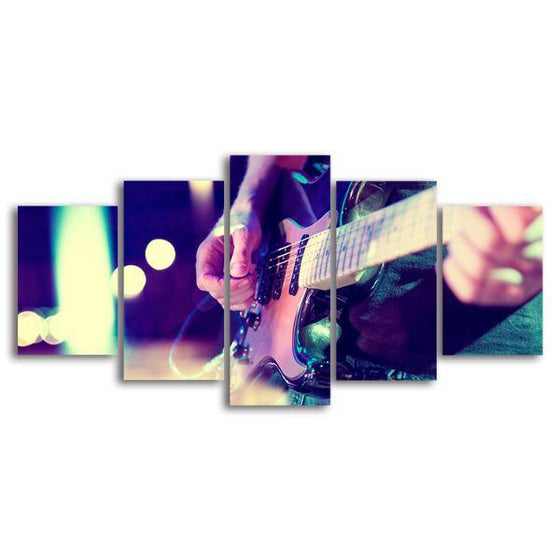 Lead Electric Guitar 5 Panels Canvas Wall Art