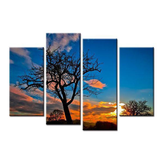 Leafless Tree And Sunset Canvas Wall Art