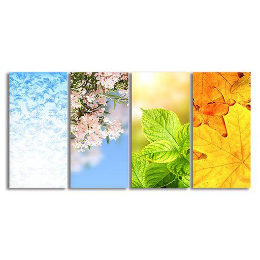 Leaves & Blooms 4 Panels Canvas Wall Art