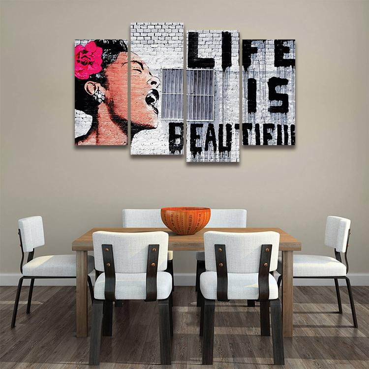 Life Is Beautiful By Banksy Canvas Print Wall Art Canvasxnet
