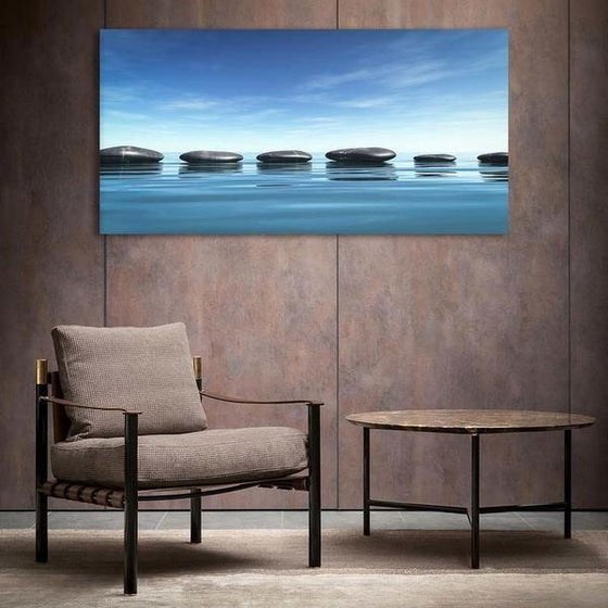 Lined Calming Zen Stones Canvas Wall Art Decor