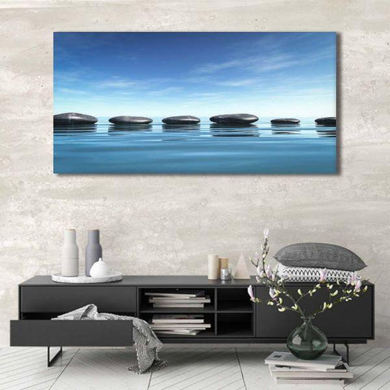 Lined Calming Zen Stones Canvas Wall Art Ideas