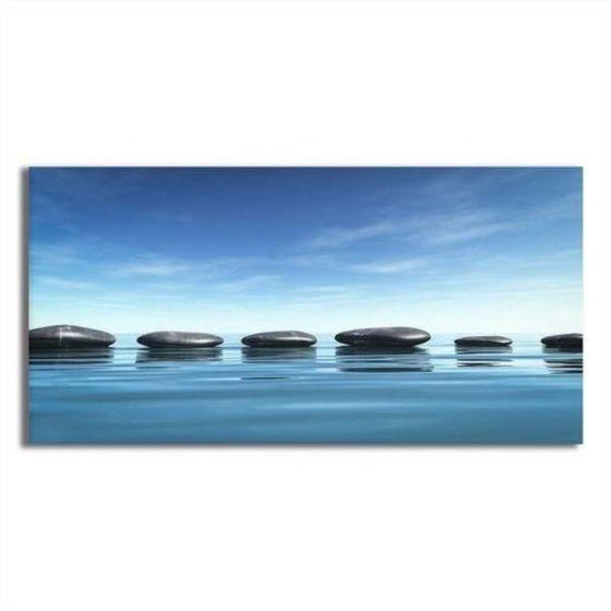 Lined Calming Zen Stones Canvas Wall Art
