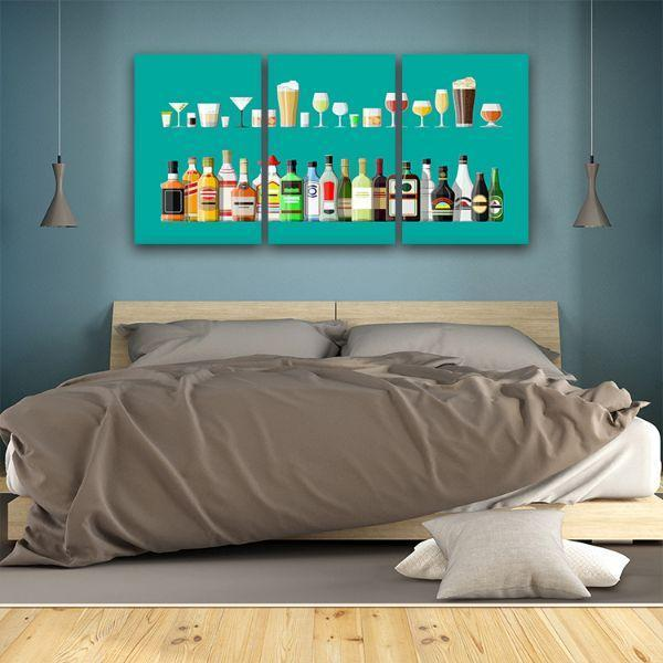 Liquor Glass And Bottle 3 Panels Canvas Wall Art Bed Room