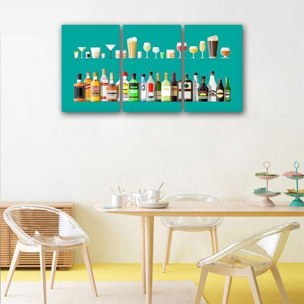 Liquor Glass And Bottle 3 Panels Canvas Wall Art Dining Room