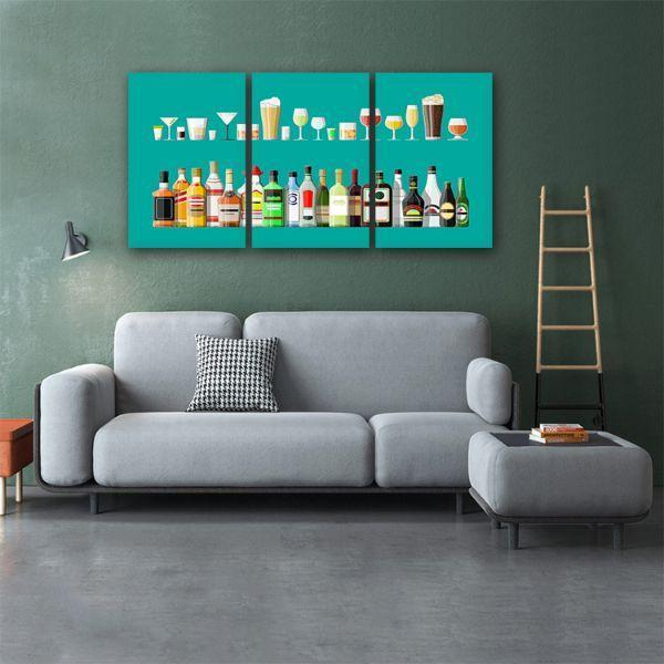 Liquor Glass And Bottle 3 Panels Canvas Wall Art Living Room