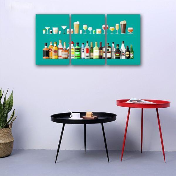 Liquor Glass And Bottle 3 Panels Canvas Wall Art Set