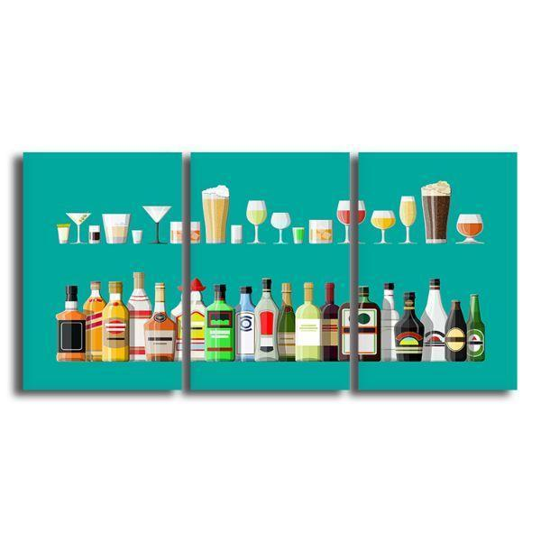 Liquor Glass And Bottle 3 Panels Canvas Wall Art