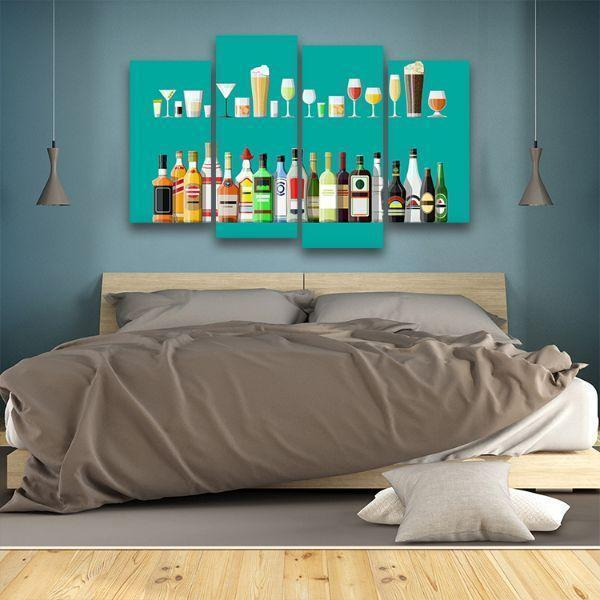 Liquor Glass And Bottle 4 Panels Canvas Wall Art Bed Room