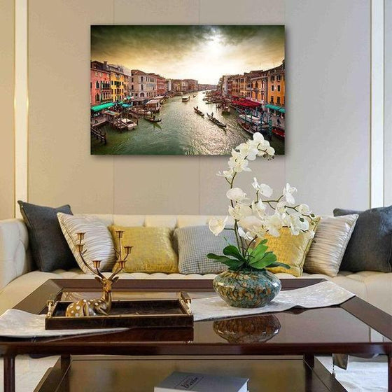 Lively Venice Grand Canal Wall Art Canvas