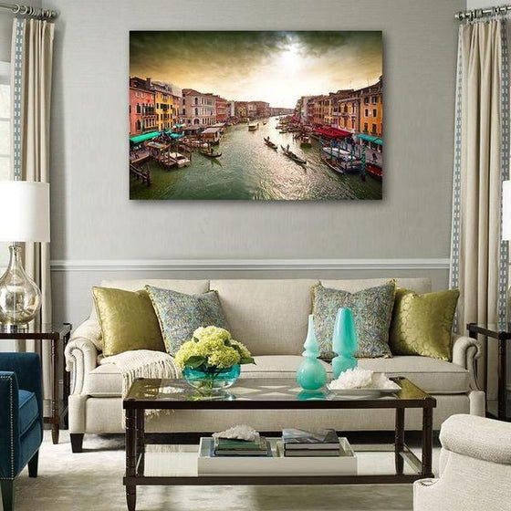 Lively Venice Grand Canal Wall Art Living Room