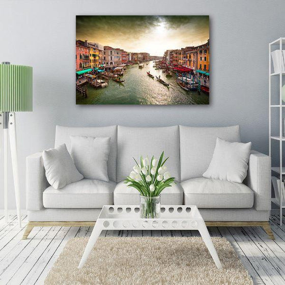 Lively Venice Grand Canal Wall Art Print