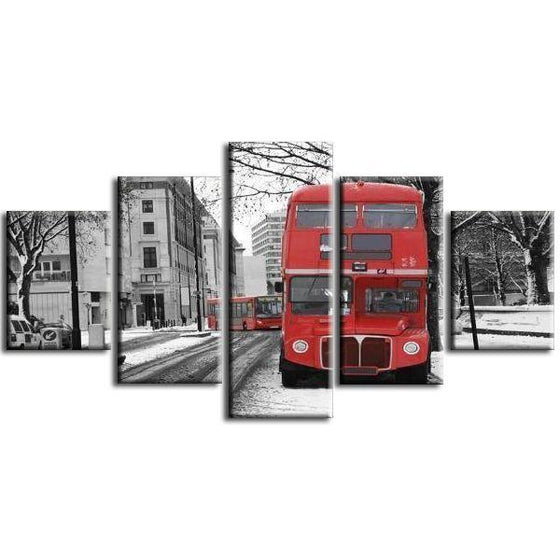 London Cityscape & Red Bus Canvas Wall Art