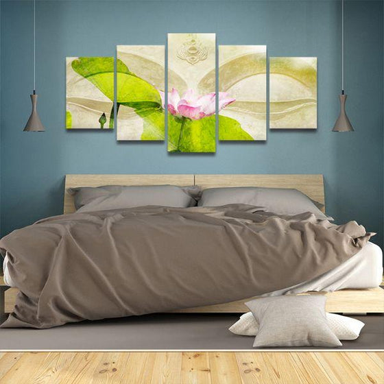 Lotus Flower Zen 5 Panels Canvas Wall Art Bedroom