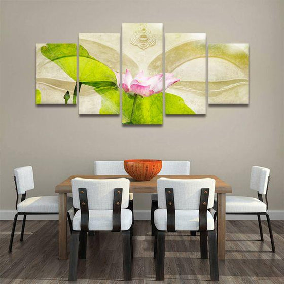 Lotus Flower Zen 5 Panels Canvas Wall Art Dining Room