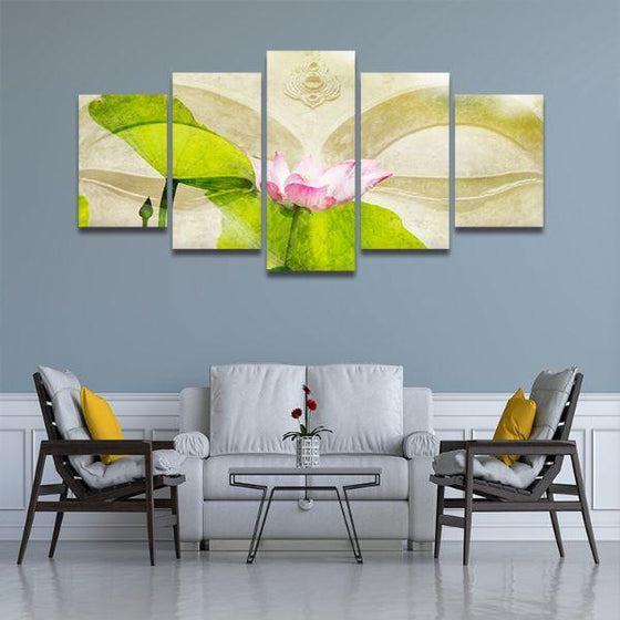 Lotus Flower Zen 5 Panels Canvas Wall Art Living Room