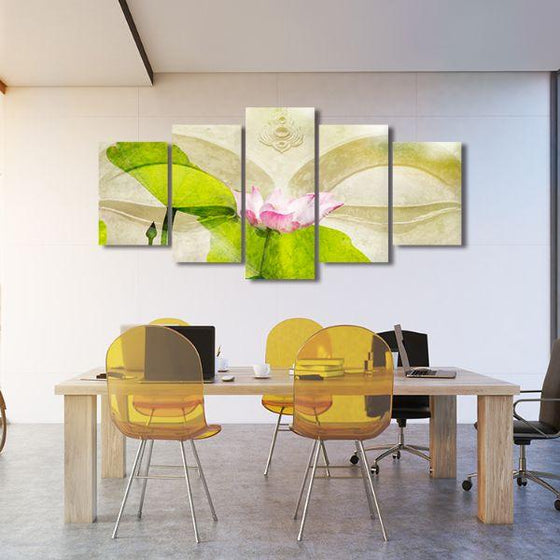 Lotus Flower Zen 5 Panels Canvas Wall Art Office