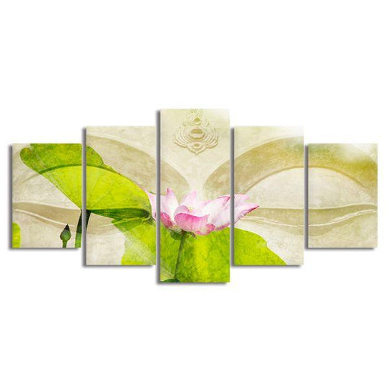 Lotus Flower Zen 5 Panels Canvas Wall Art