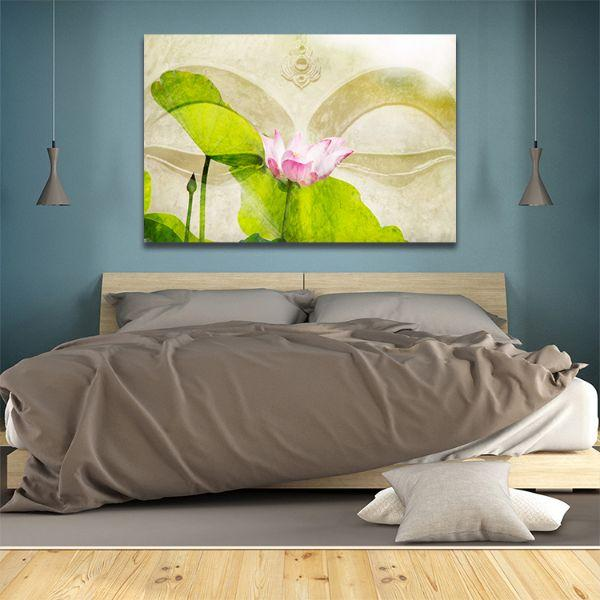 Lotus Flower Zen Canvas Wall Art  Bedroom