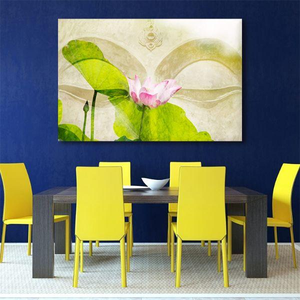 Lotus Flower Zen Canvas Wall Art Dining Room