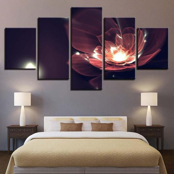 Glowing Red Flower Canvas Wall Art Bedroom