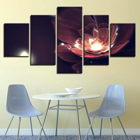 Glowing Red Flower Canvas Wall Art Dining Room