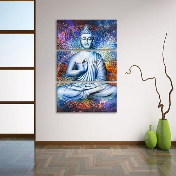 Lotus Posed Buddha 3 Panels Canvas Wall Art Decor