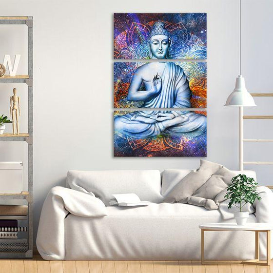 Lotus Posed Buddha 3 Panels Canvas Wall Art Living Room
